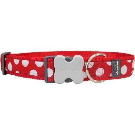 Obojek  40 mm x 50-80 cm - White Spots on Red