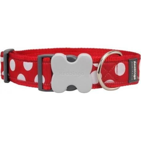 Obojek  40 mm x 37-55 cm - White Spots on Red
