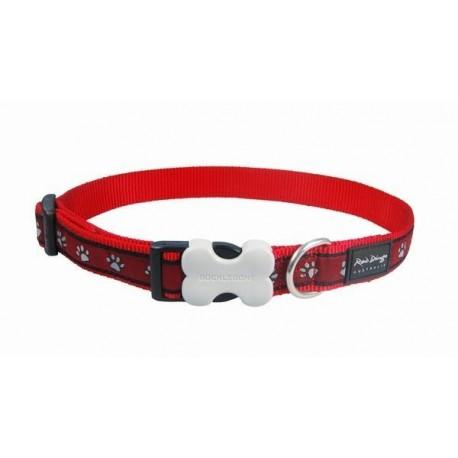 Obojek 25 mm x 41-63 cm - Pawprints Red