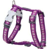 Red Dingo Postroj  12 mm x 30-44 cm - Daisy Chain Purple