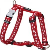 Red Dingo Postroj  12 mm x 30-44 cm - White Spots on Red