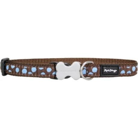 Obojek  12 mm x 20-32 cm - Blue Spots on Brown
