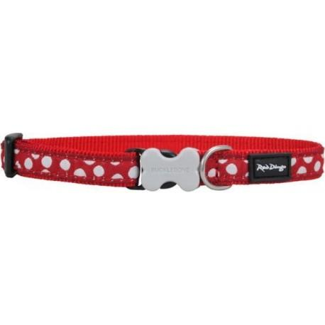 Obojek 12 mm x 20-32 cm - White Spots on Red